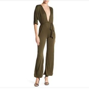 Emory Park Olive Green Deep V-neck Jumpsuit